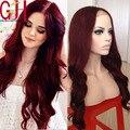 100% brasileña Virginal Del Pelo sin cola pelucas llenas del cordón ombre del frente del cordón humano peluca de pelo para las mujeres negro rojo onda del cuerpo de la peluca del pelo del bebé