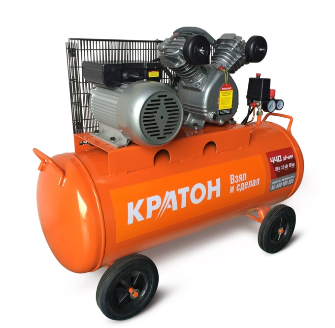 KRATON Compressor AC-440-100-BDV 2200W 10bar 400l / min 104kg belt oil