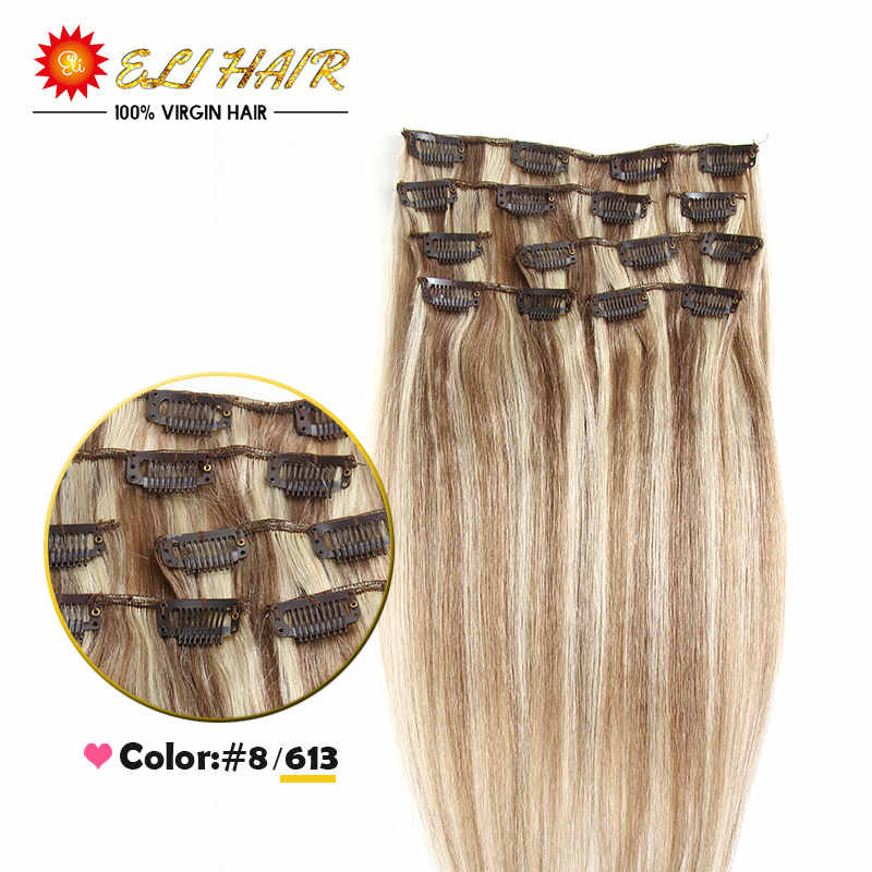 70g-120g Clip in Human Hair Extensions Brazilian Straight Hair 20 Colors Available Straight Virgin Hair Clip In Extensions