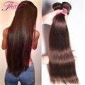 Grade 8A Light Brown Unprocessed Virgin Brazilian Straight Hair Cheap 3 Bundles Dark Brown #4 #2 Straight Human Hair Extensions