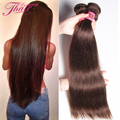 Grau 8A Luz Marrom Cabelo Liso Brasileiro Virgem Não Processado Barato 3 Pacotes Marrom Escuro #4 #2 cabelo Humano Em Linha Reta Extensões de cabelo