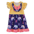 Boutique Cute Girls Sleeveless Dress Stripes Button With Elephant Fabrics Swing Clothing Ruffle Remake Children Dress DX008