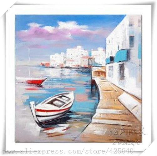 Impression boat in the seaside seascape greek oil painting hight quality hand painted home decoration