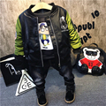 Warm kids clothes sets winter boys clothing sets thick plus velvet 3pcs suits leather jacket+t-shirt+pants boys clothes children