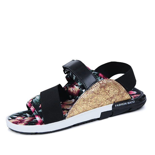 Summer 2016 men's leather male Korean version of the influx of non-slip sandals personality