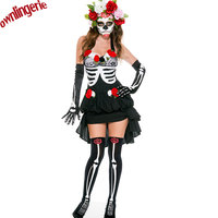 Sexy off shoulder neck halter zombie bride women skeleton halloween costume including flower circle,printed gloves and stocking
