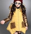 Nova Parka de Espessura Quente Jaqueta de Algodão Para A Menina Crianças Longo Inverno Jaqueta Com Capuz Casaco de Inverno Meninas
