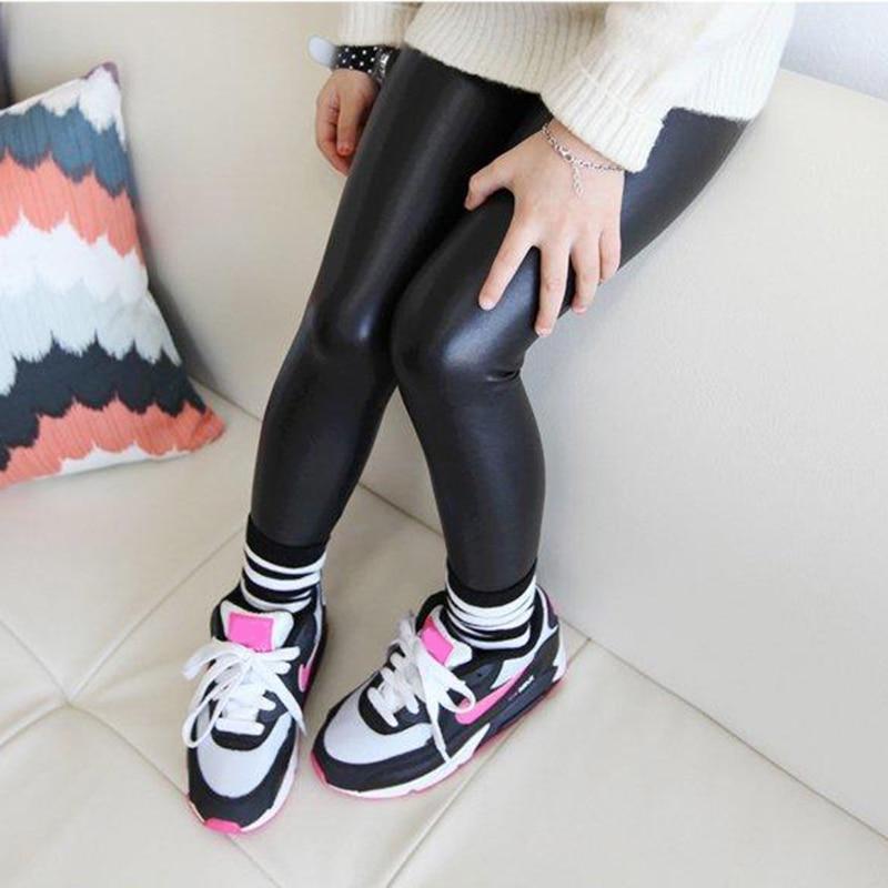 Baby Girl Legging 2016 Fashion Full Length Leggings Faux PU Leather Skinny Pants Girl Leggings ...