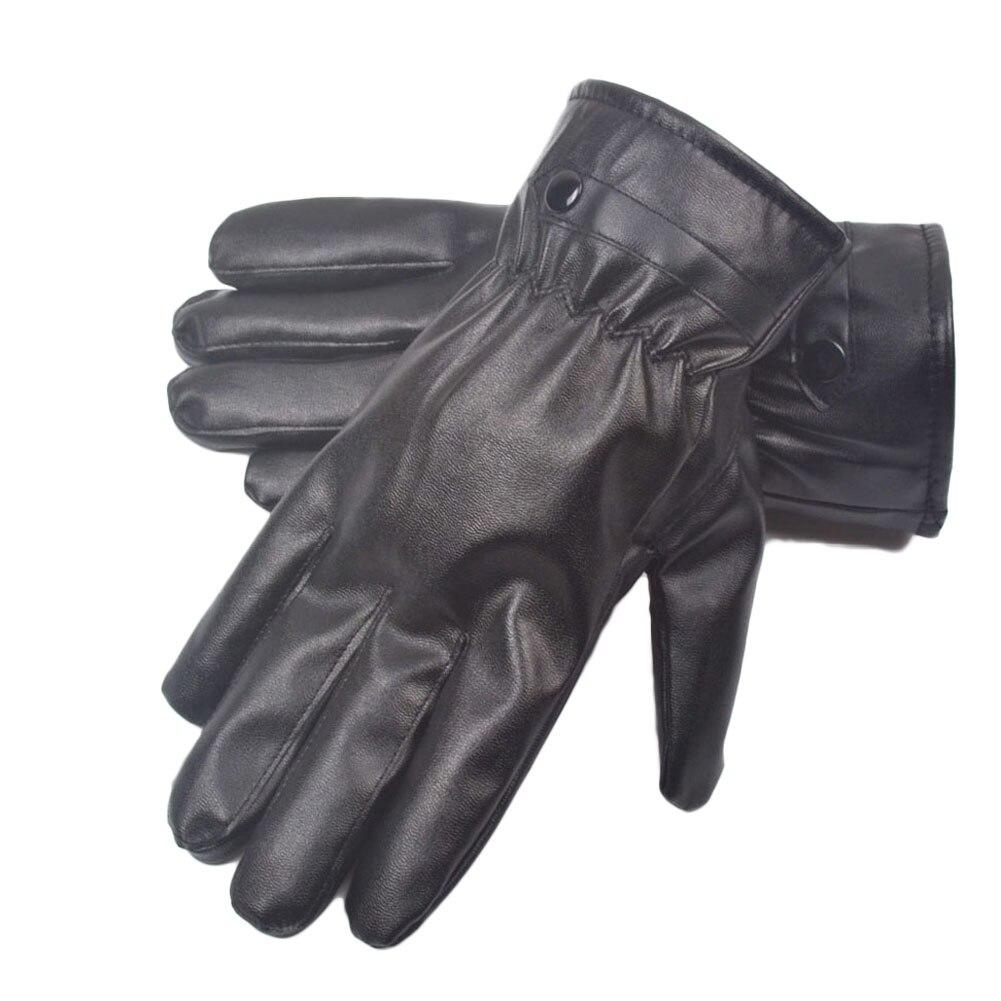 HOT Sale Winter Men And Women PU Leather Gloves Black Luvas De Couro Motocycle Punk Rock Warm Luva Motoqueiro