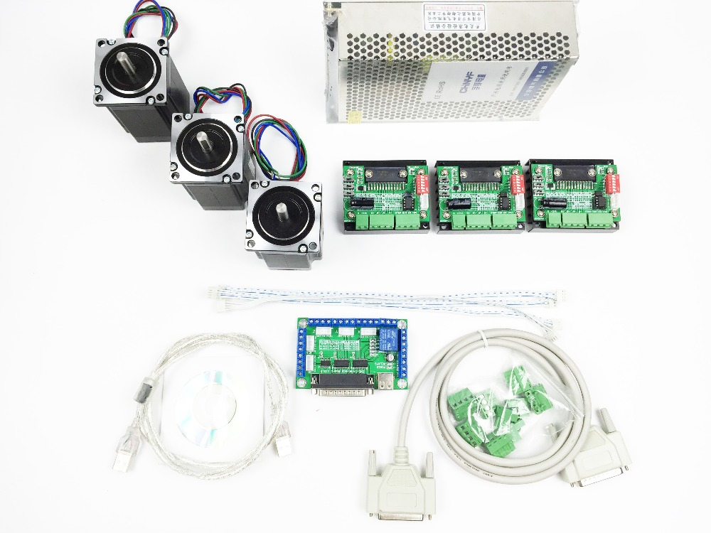 CNC Router Kit 3 Axis, 3pcs TB6560 1 axis stepper motor driver +one breakout board +3pcs Nema23 312 Oz-in motor+one power supply cnc router 3 axis kit 3 axis tb6560 motor driver controller board for nema23 stepper motor
