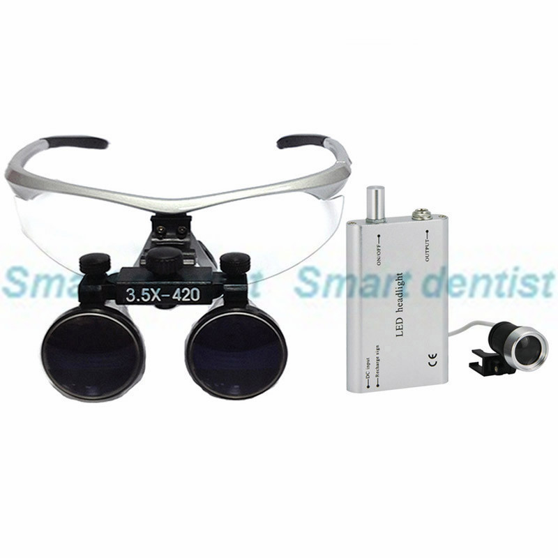 2016 3.5X 420mm dental Loupe operation surgical Magnify with portable LED power head light 2016 fast shipment 3 5x loupe with led headlamp enlarging glass dental equipment operation surgical magnify
