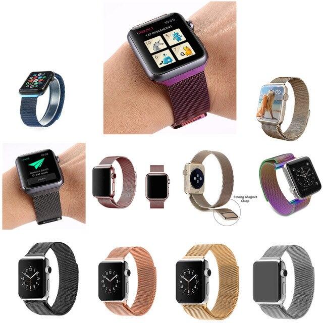 Para correas de reloj iwatch venda de acero inoxidable pulsera de metal para apple watch correa de hebilla magnética de oro rosa de plata negro pg03