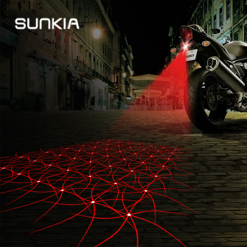 SUNKIA Motorcycle Fog Lights Cool Motorbike Tail Light Motorcycle Rear Car Laser Brake Turn Bulb Accessories Shining Pattern