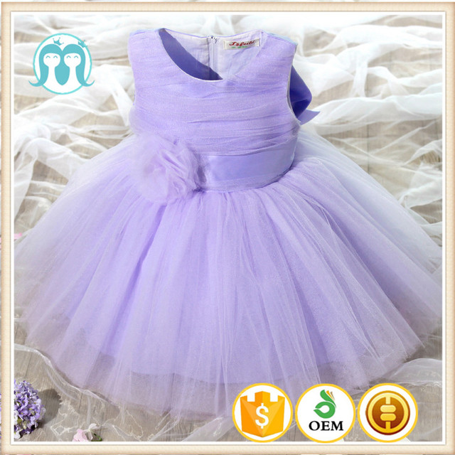 Hot Sale Elegant Small Purple Dresses For Baby Girls Wedding Formal