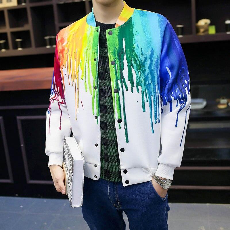 Harajuku Моды Плавки Цвет Человек Куртка 352 Весна Осень Мужчины Куртку Красочная 3D Печати Пальто Мужской Пиджак