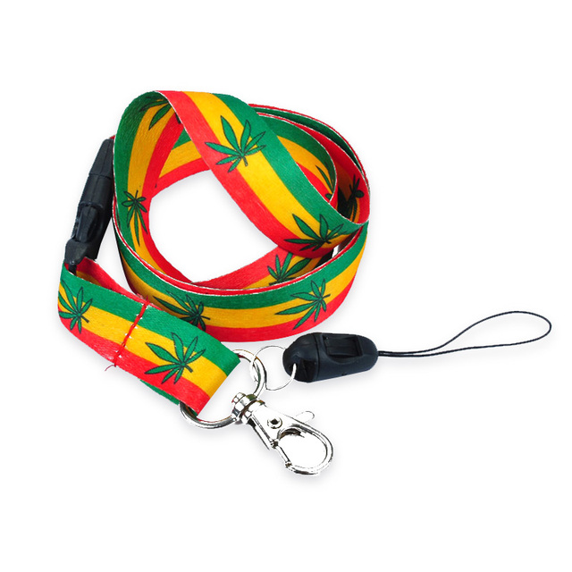 green yellow red hemp weed lanyard key chain neck strap necklace id