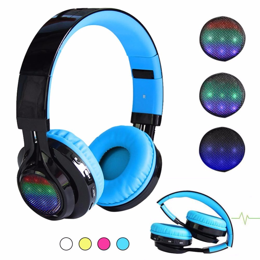 Foldable wireless Bluetooth headphones Stereo Gaming Headset Earphone with LED light For PC Laptop Computer Mobile Phone ultra light wireless bluetooth stereo headphones earphone headset with microphone for android smartphone iphone7 6 6s tablet pc