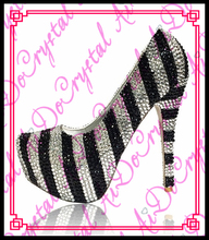 Aidocrystal Zebra Kristall PU Closed Toe Party Schuhe High Heel Für Dame
