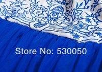 женская средний-икры мода шелковистой вышивкой голубой и белый для платье с принтом Elegant женские 3 слоя сетки платья