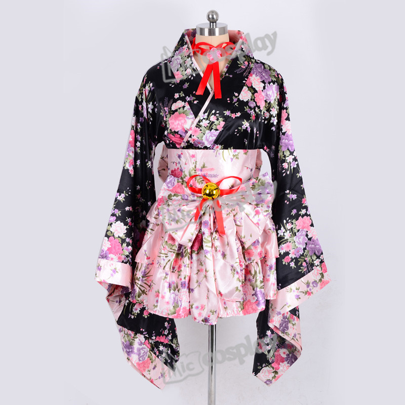 Japanese Kimono Lolita Maid Uniform Outfit Anime Cosplay