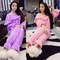 2 Peças conjunto de Pijama Mulheres pijamas de Inverno Da Moda Tops + Calças Super quente velo Coral de Alta qualidade Barato roupas china BN1770
