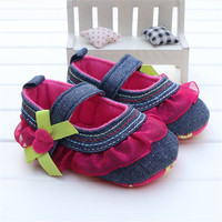 Newborn Baby Girl Shoes Lovely Magenta Lace Ruffled Pumps Soft Sole Denim Jeans Infant Kids Girls