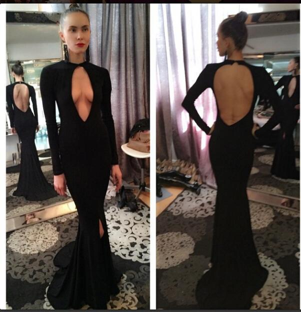 b81bd2d15c A-698 New Sexy Black Open Front Keyhole Back Inspired 2016 Evening Prom  Dresses Mermaid Long Sleeves Prom Party Gowns