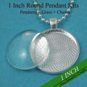 200 комплектов черного ожерелья наборы: 25 мм круглые подвесные подносы+ 25 мм стекло Cabochons+ 24 дюйма ожерелье из шариковой цепочки