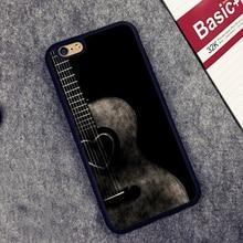 Холодный Черный Гитара Печатных Мягкой Резины Случаи Мобильного Телефона Аксессуары Для iPhone 6 6 S Плюс 7 7 Плюс 5 5S 5C SE 4 4S Крышка Shell