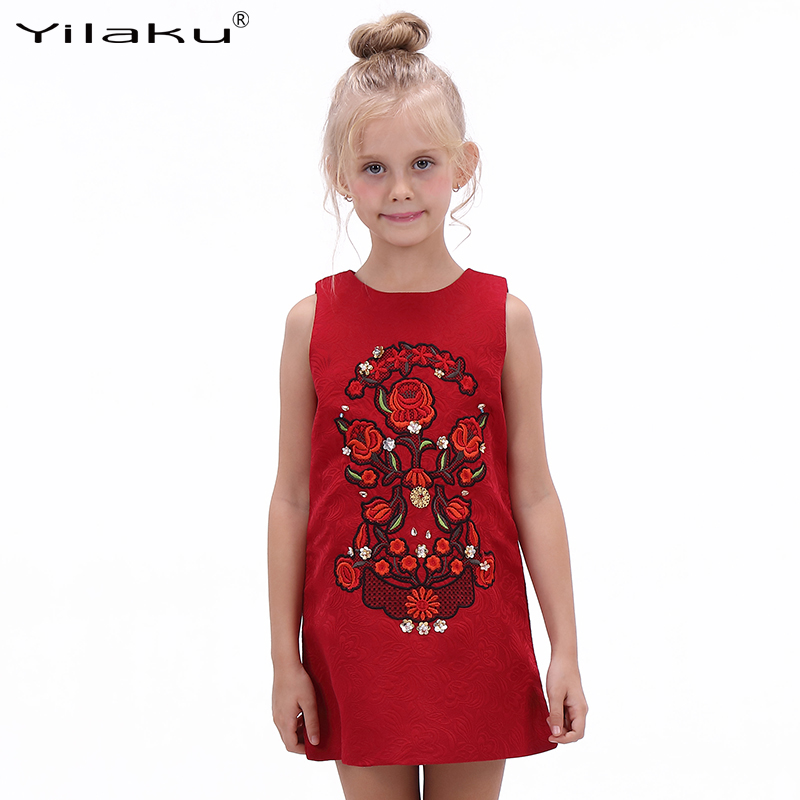 girls christmas dresses floral embroidery a line princess dress girls clothes red colour girl party dress childrens clothing - Christmas Dresses