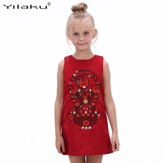 girls christmas dresses floral embroidery a line princess dress girls clothes red colour girl party - Girl Christmas Dresses