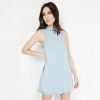 Spring Summer Denim Dress In Europe And The Sleeveless Dress Pure Color Sweet Little Pure And