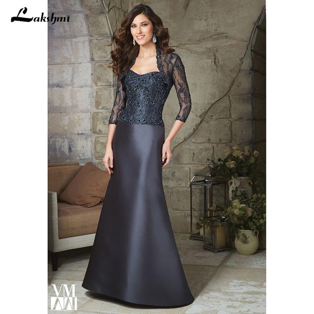 Elegante Três Quartos Com Revestimento Até o Chão Mãe da Noiva Vestidos de Festa À Noite As Mulheres Cristais Vestido de Baile para Casamentos