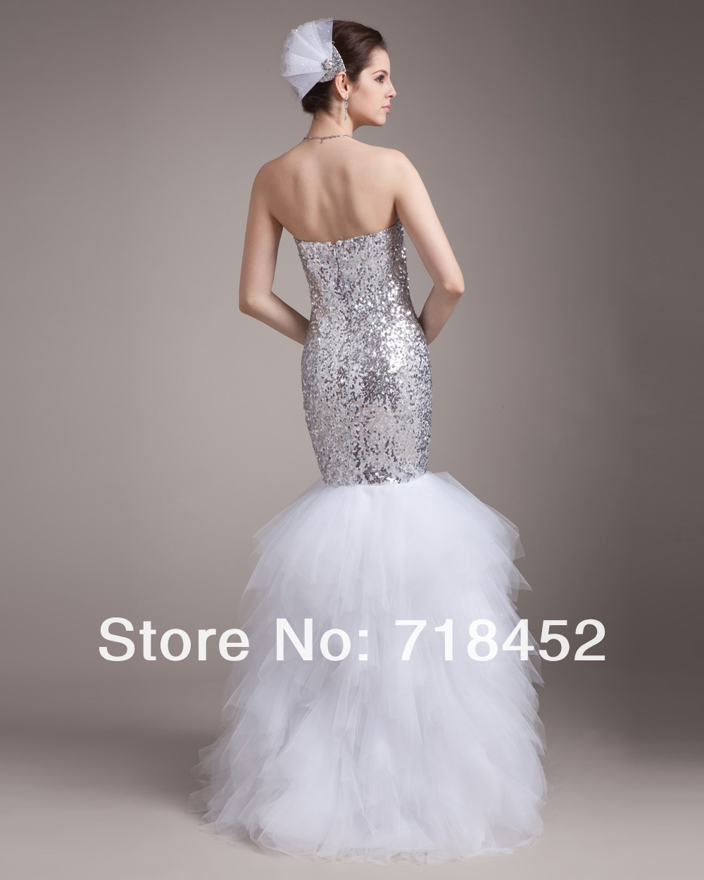 Sexy Bling Bling 2013 Mermaid Wedding Dress Sweetheart Sequins White  Organza MR013 56a385228b89