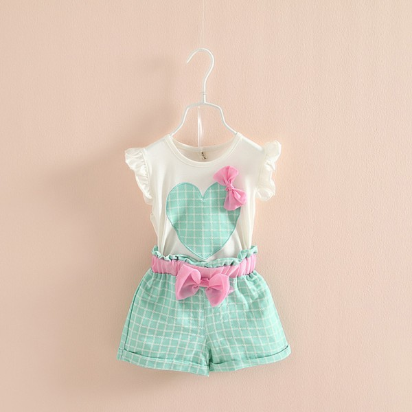Cotton Baby Kids Girls Sleeveless Heart Bow Tops T Shirt+Plaid Short Pants Outfits 2-7YCotton Baby Kids Girls Sleeveless Heart Bow Tops T Shirt+Plaid Short Pants Outfits 2-7Y