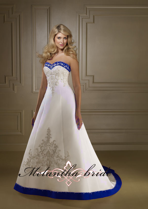 2012 Hot sale A line sweetheart neckline satin embroidered royal ...