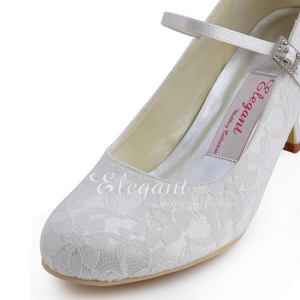 1e56d9af0a40 ... EP1085-IVORY-3. 1. White Ivory Woman Shoes Wedding Bridal Low Heels  Comfort Mary Jane Rhinestones Buckle Lace ladies bride Prom Party Pumps ...
