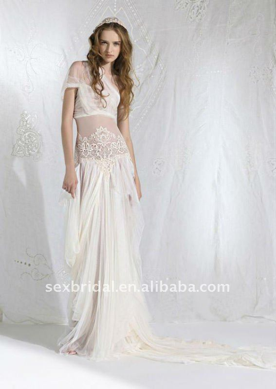 Beautiful Exotic Bohemian Ivory One Shoulder Slim Lace Chiffon Voile Floor Length Wedding Dress He Sl003 In Dresses From Weddings Events On