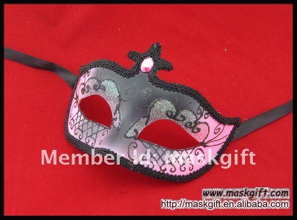 Венецианская розовая и черная Маскарадная маска с бусинами, Вечерние Маски из бисера