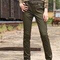 Бесплатный Армия женщины тренировочные брюки Военная Army Green Cargo Pants женщины активность плюс брюки брюки упругие случайные штаны женский GK-991A