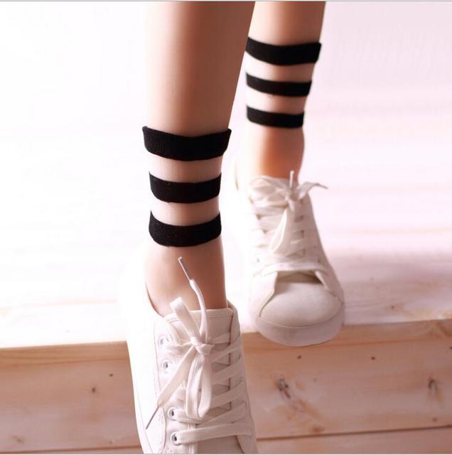 4ffc36a6303ae 2018 new summer fashion socks wholesale transparent crystal Japanese glass  wool socks socks three bars