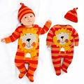 Roupas de bebê roupas de algodão roupas de desenhos animados orange leão tarja longo-sleeved conjoined terno + chapéu do bebê pés envoltório