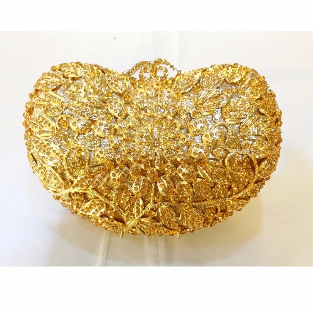 ФОТО 8359GD Gold Crystals Floral flower Wedding Bridal Party Night hollow Metal Evening purse clutch bag handbag box case