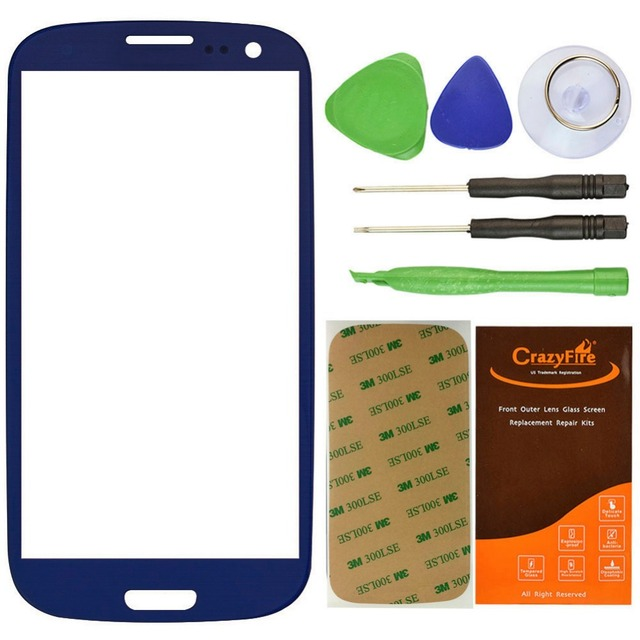 100% High Quality Dark Blue Front Outer Lens Glass Screen Cover For Samsung Galaxy S3 SIII i9300 Replacement+Tools+Adhesive