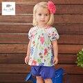 DB3184 dave bella bebé del verano muchachas de flor impresa conjuntos de ropa de niño fijó la ropa infantil niños conjuntos