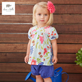DB3184 dave bella summer baby girls flower printed clothing sets child set infant clothes  kids sets
