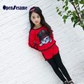 Сладкие девочки одежда наборы милый кот девушки одежда детская одежда с длинным рукавом толстовки + брюки малышей девушки одежда