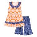 New Arrival Children Spring Summer Outfits Sleeveless Floral Top Polka Dots Ruffle Shorts Cheap Girls Clothing Sets S069