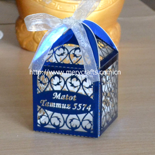 120pcs Lot Royal Blue Wedding Favors Bo Laser Cut Personalized Gifts Box In