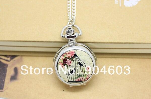 6005 s) Серебряный тон Клетка цветок кварцевые карманные часы Цепочки и ожерелья с зеркалом, dia 2.9.cm смешанный дизайн. 12 шт./лот